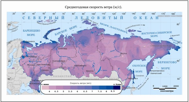 Russia's wind resources MAP
